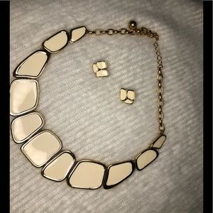 Kate Spade White enamel necklace and earrings set